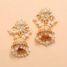 2020 nowe Ins indyjskie złoto ręcznie robione koraliki Lotus tajlandia Piercing kolczyki koreański Fashion Party biżuteria Bijoux