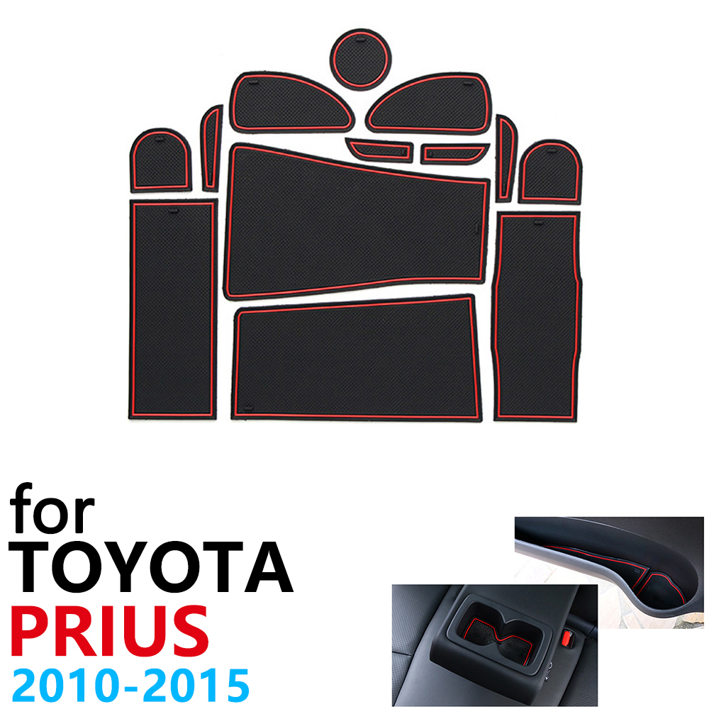 Anti-Slip Rubber Cup Cushion Door Groove Mat for Toyota Prius 30 XW30 ZVW30 2010 2015 Accessories Car Stickers mat for phone
