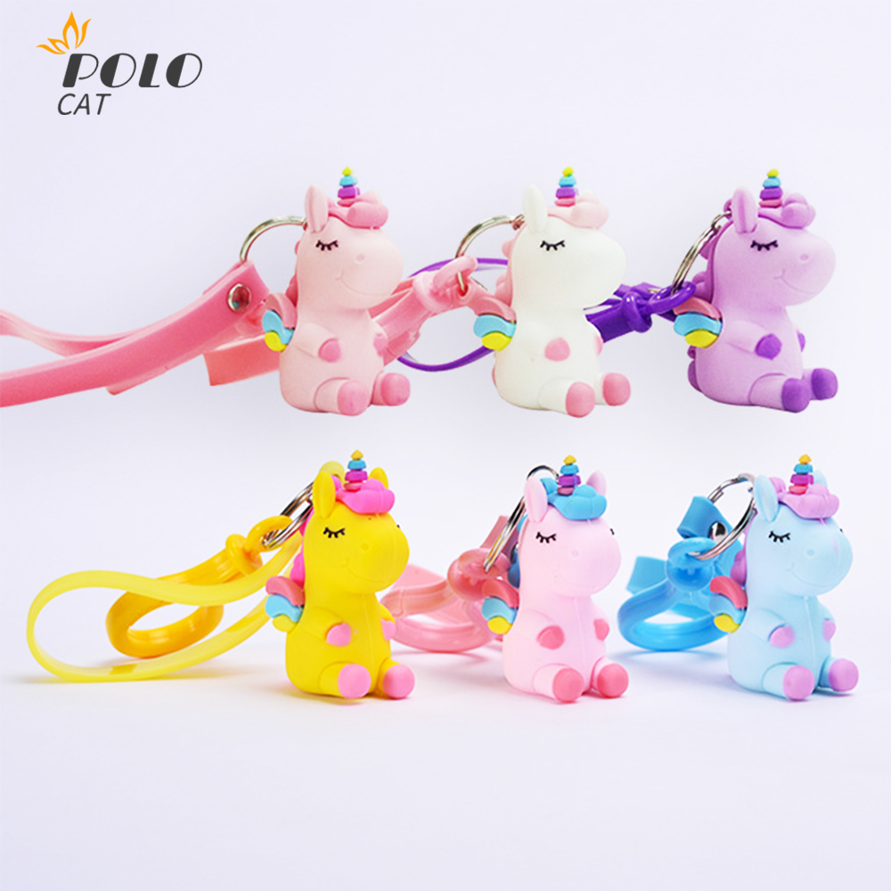 2020 New Bags Accessories Cute Fairytale PVC Unicorn Keychain Multi-style Key Rings Holder Alloy Key Chain For Women Girls Gift