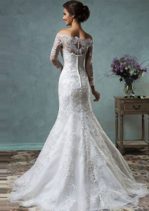 Image 4 - 2019 Hot Sale Vintage Wedding Dresses With Sheer Long Sleeves Detachable Train Appliques Lace Tulle Customized Bridal Gowns