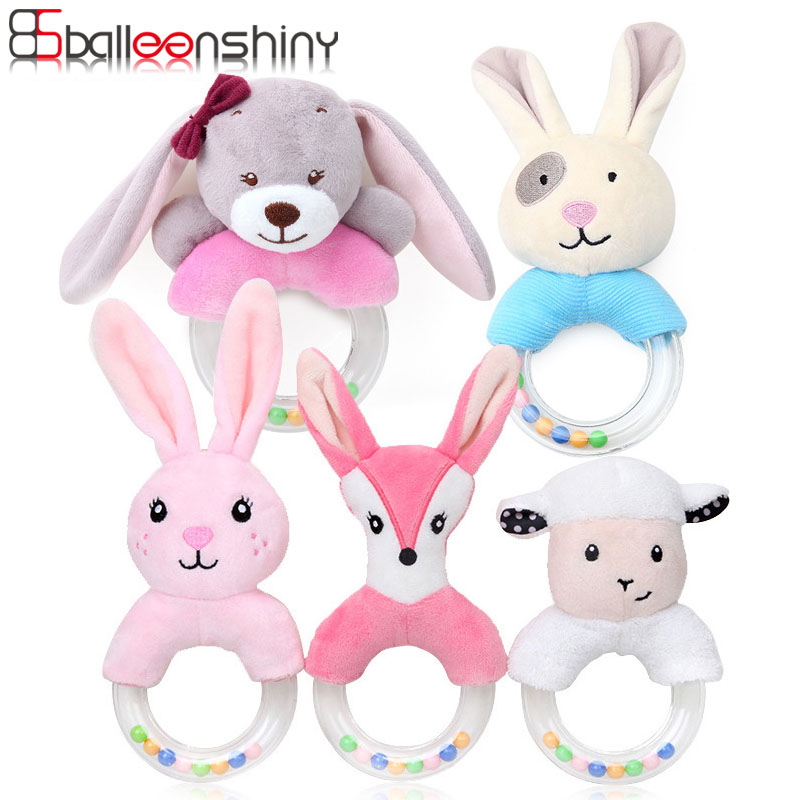 Balleenshiny Cute Baby Rattle Toys Cartoon Animal Bed BabyToys For 0-12 Months Educational Rabbit Hand Bells Baby Speelgoed