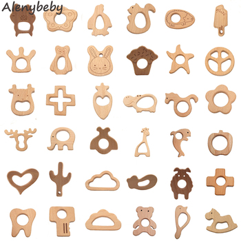 50pcs Organic Beech Wooden Teether Natural Handmade Wooden Teether DIY Wooden Personalized Pendent Eco-Friendly Baby Toy