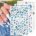 Голографические бабочки лак для ногтей наклейки синие черные наклейки Весенняя тема цветы декоративный Маникюр CHF672-681