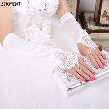 White or Ivory Short Wedding Gloves Fingerless Bridal for Women Bride Red Lace Luva De Noiva Accessorie