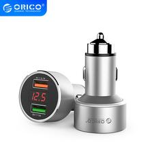 ORICO Dual USB Car Charger with Display Screen Mini 2 Ports USB Car Charger For Mobile Phone Tablet GPS iPhone 7 8 Plus Samsung 2 1 car charger with dual usb ports