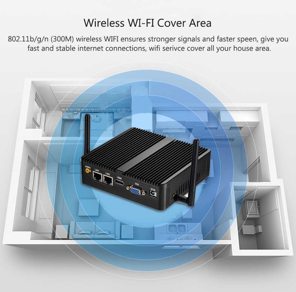 Mini PC Celeron J1900 czterordzeniowy podwójny LAN 2 * COM bez wentylatora minikomputer Celeron N2830 J1800 Windows 10 Nettop WIFI HDMI VGA minipc