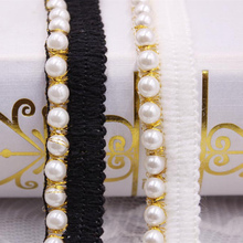 1Yards White Black Pearl Beaded Lace Ribbon Lace Trim Embroidered Lace Fabric Beaded Fringe Clothing Accessories Wedding Dress