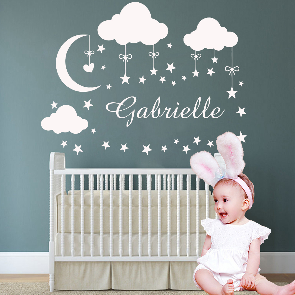 Personalized Custom Name Wall Sticker Moon Stars Vinyl Stickers  For Kids Babys Room Decoration Decals Girls Bedroom Decor mural