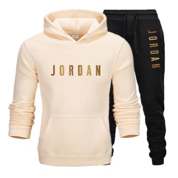 Męska Jordan 23 list garnitur marka odzież sportowa strój sportowy męska sportowa bluza z kapturem + spodnie garnitur odzież sportowa męska bluza z kapturem tanie i dobre opinie Elastyczny pas NONE COTTON Pełna Na co dzień Kieszenie Drukuj