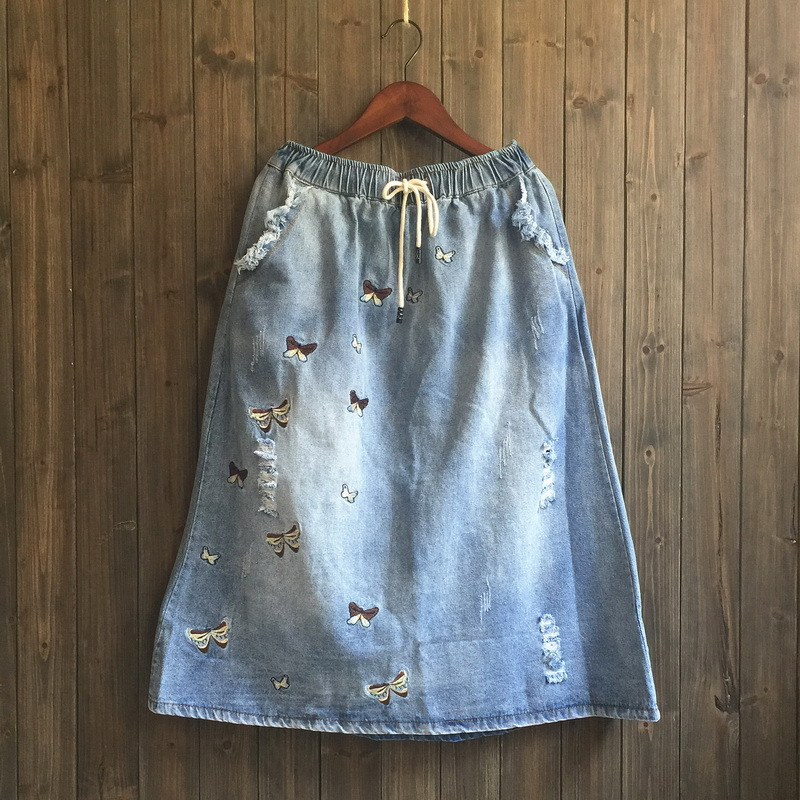 2019 Summer New Style Japanese-style MORI Series Embroidered Butterfly With Holes Retro Denim Skirt Women's Jn11091