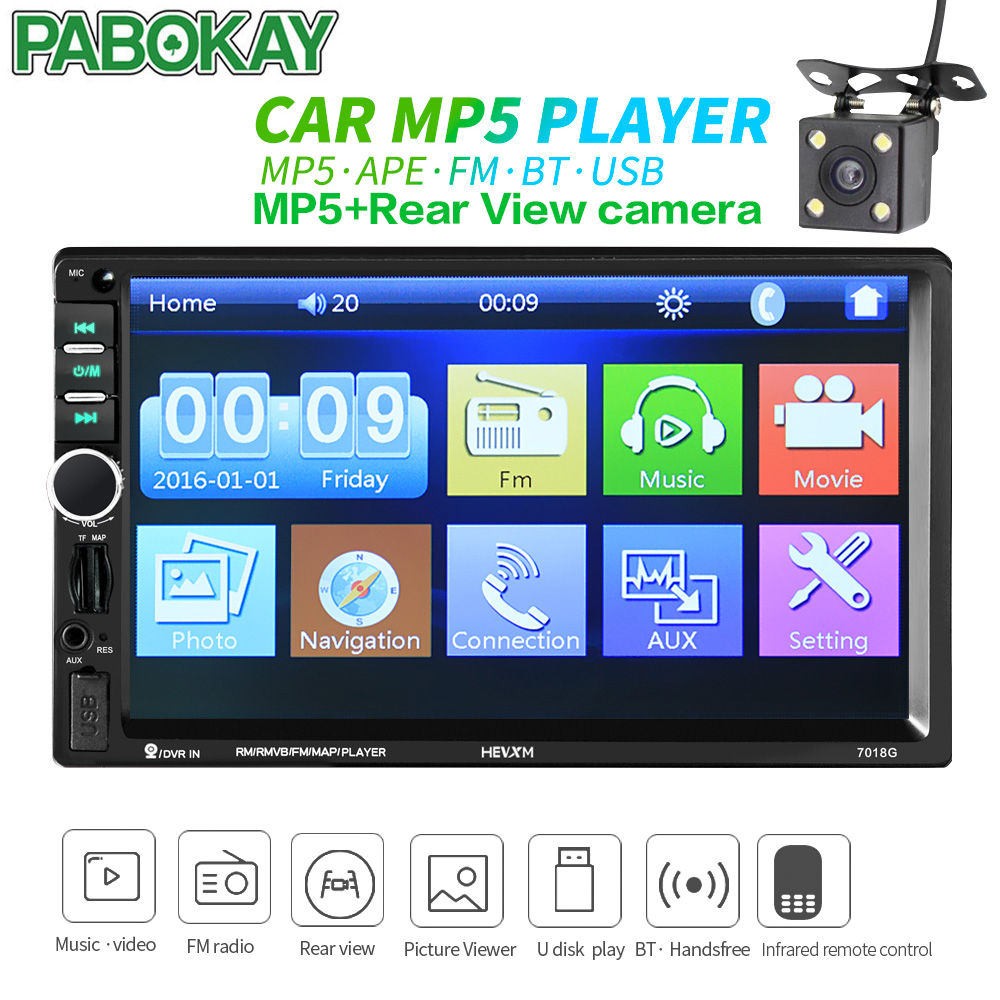Car Rear Night Backup Reverse camera + <font><b>2</b></font> <font><b>din</b></font> Multimedia Player 7'' Bluetooth Stereo FM <font><b>Radio</b></font> Video Audio MP3 MP5 USB AUX image