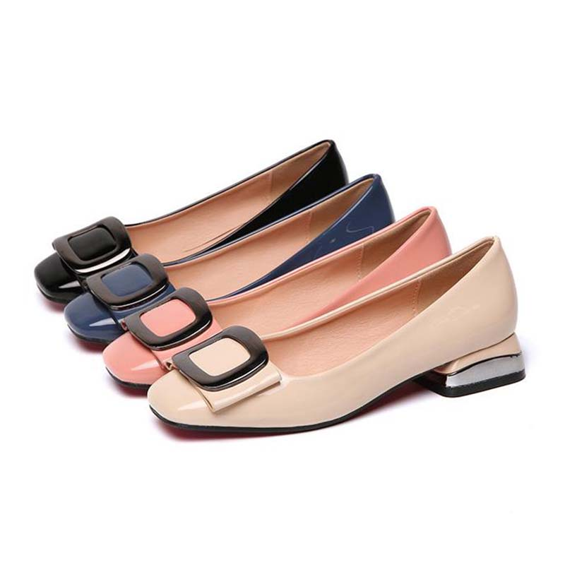 Candy Colors Women Patent Leather Shoes OL Loafers Casual Low heeled Female Sweet Metal Buckle Boat Shoes Size 40 in Women 39 s Pumps from Shoes