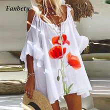 2021 Summer Elegant Floral Printed A-Line Dress Women Sexy Hollow Out Short Sleeve Loose Dresses Ladies Casual Beach Vestido 5XL