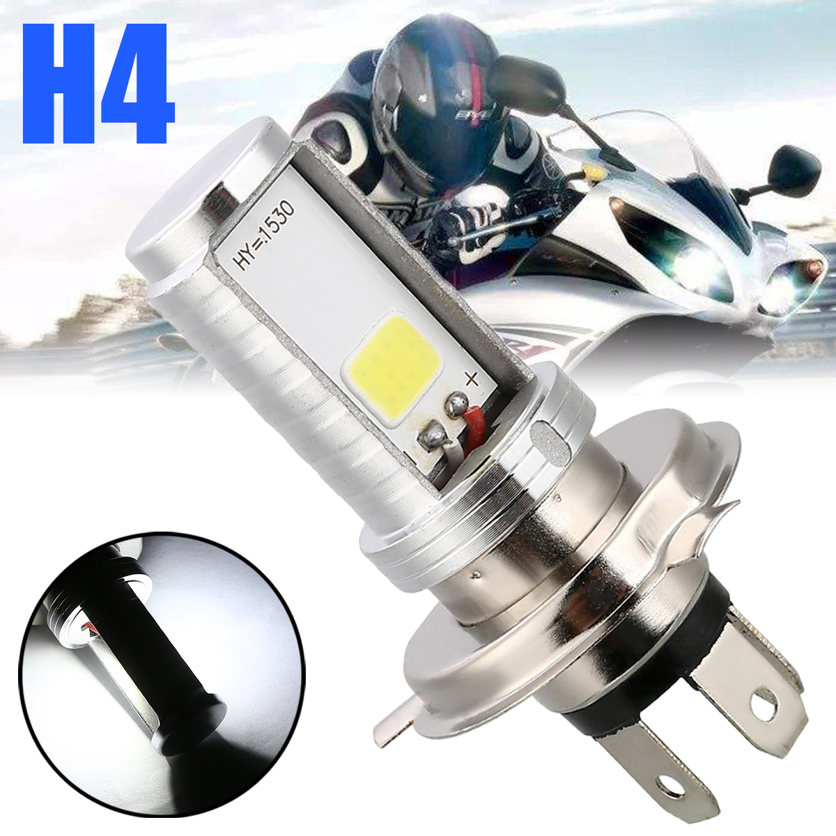 Treyues 1PC Double Sided Motorcycle H4 COB LED Headlight Hi-Lo Beam Front Lamp Bulb White For Moto Accessories