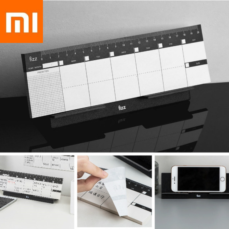 Original Xiaomi Fizz Desktop Weekly Planner Benchtop Week Plan Notebook Booklet  Planning Scale Mark Bracket Type 60Page Tearing