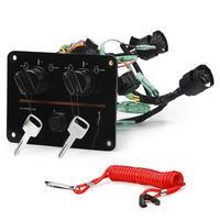 Dual Engine Key Switch Panel Set Twin Switch for Yamaha Outboard Engine 6K1 82570