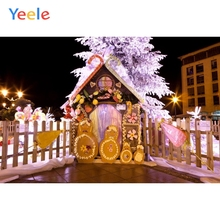 Yeele Christmas Background Photophone Winter Snow Candy Sweet House Fence Baby Vinyl Photography Backdrop For Photo Studio