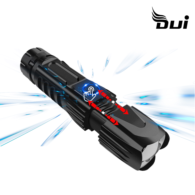 DUI New XHP90 zoom rechargeable led lamp charging input output led flashlight