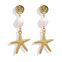 Fashion Gold Color Simulated Pearl Shell Long Drop Earrings For Women Bohemian Sea Starfish Hanging Dangle Earring Jewelry