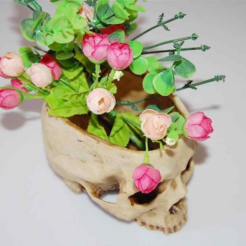 수지 두개골 모델 수지 꽃 냄비 할로윈 빛나는 과일 접시 인간의 스토리지 컨테이너 홈 호텔 장식 수동 냄비