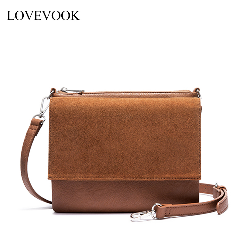 Lovevook Shoulder Bags For Women 2019 PU Leather Faux Suede Messenger Bag Female Crossbody Bags Vintage Flap Fashion Clutch