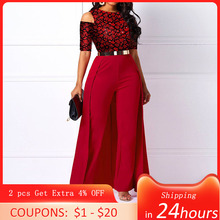 Plus Size High Waist Plain Long Sleeve Jumpsuit Women Elegant Formal Party Swallowtail Slim Autumn Ladies Red Wide Leg Jumpsuits
