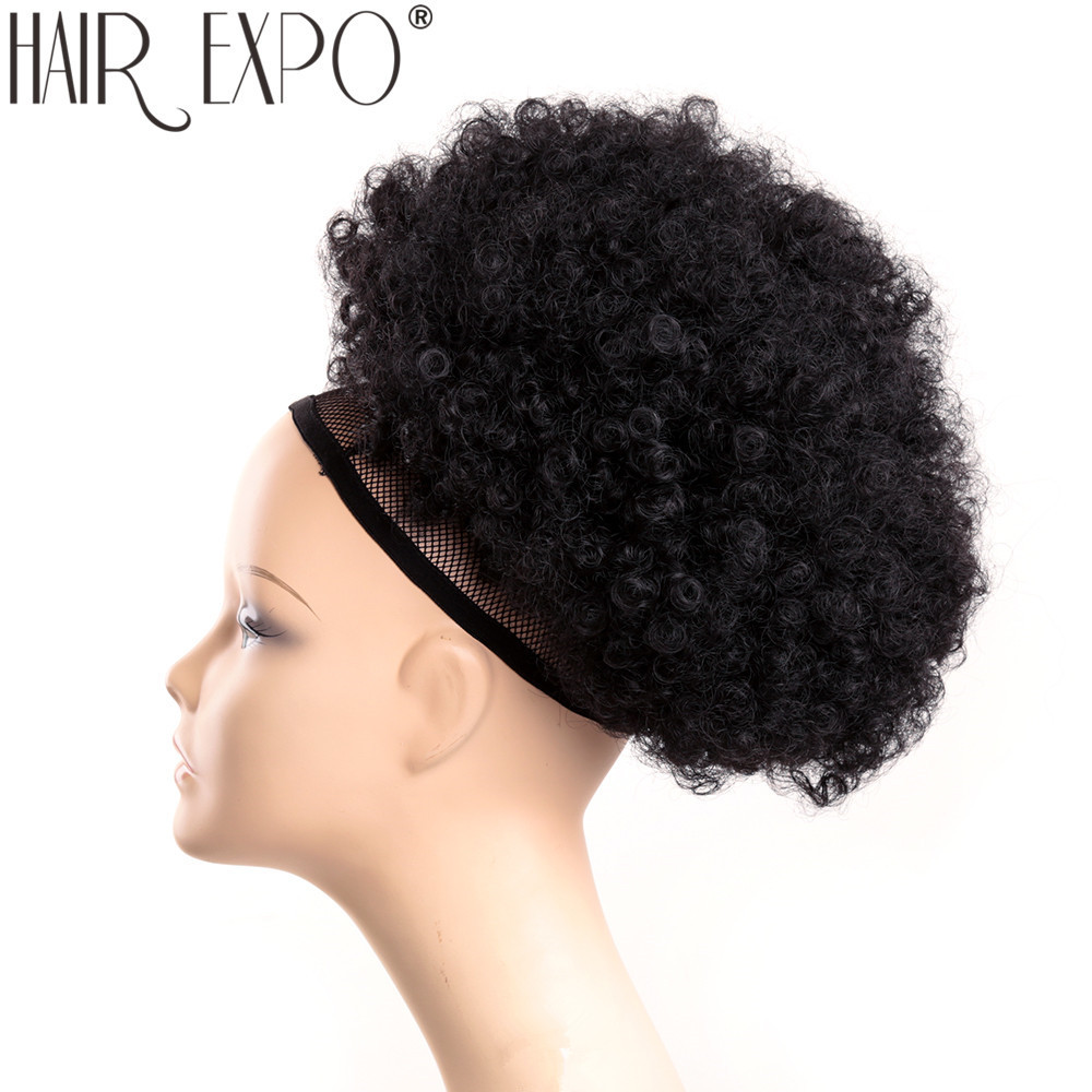 10inch Short Synthetic Hair Bun Drawstring Ponytail Afro Puff Chignon For Black Women Kinky Curly Updo Clip Hair Extension