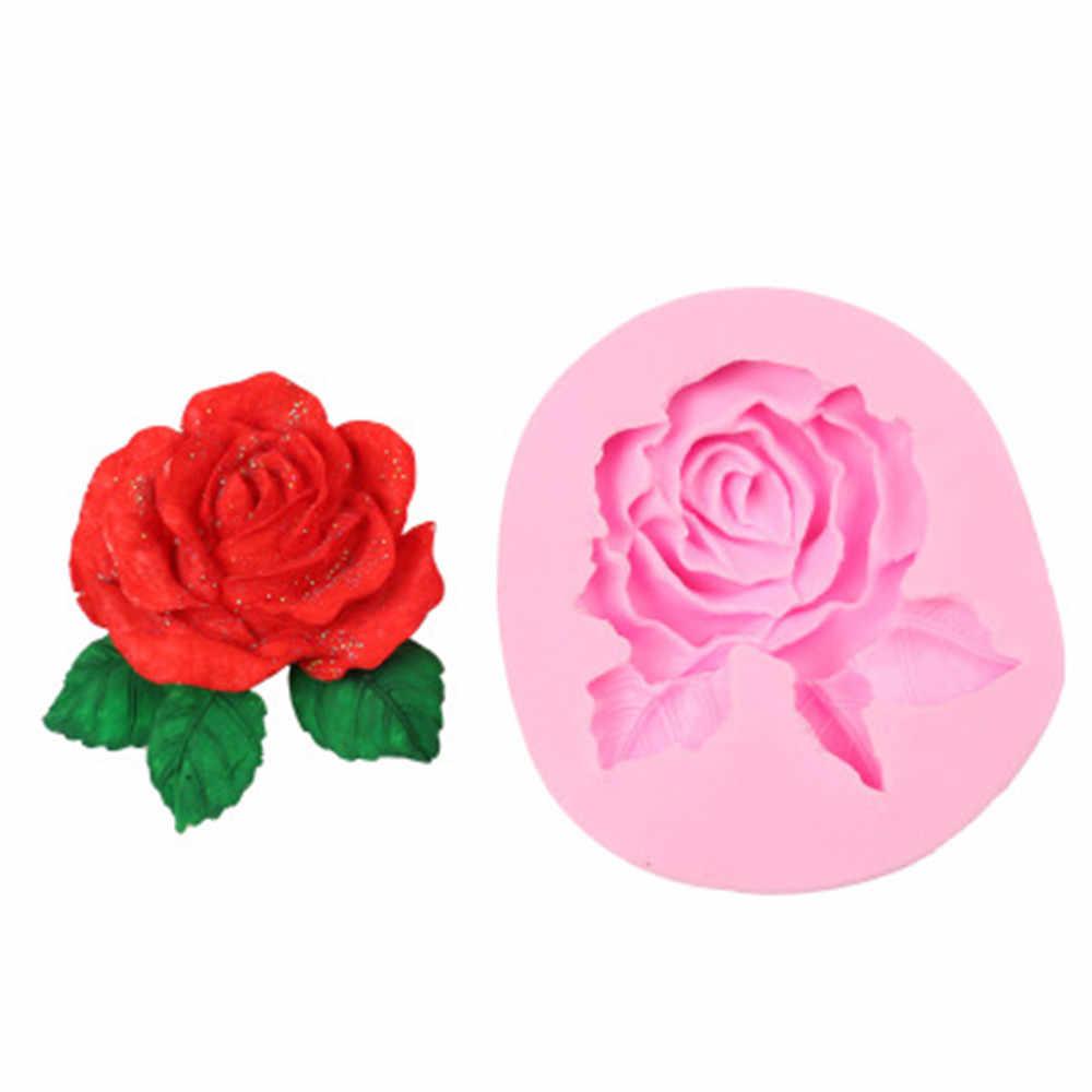 3 D زهرة بلوم روز شكل قالب من السيليكون صابون يدوي الصنع الشوكولاته فندان كعكة المطبخ الخبز الزفاف تزيين أدوات الحلوى