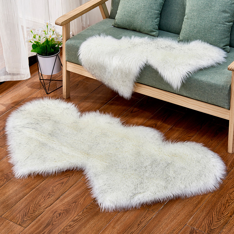 Solid Living Room Floor Area Rug Double Heart Artificial Wool Sheepskin Rugs Shaggy Carpet Bedroom Sofa Decor Faux Fluffy Mats