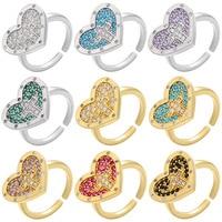 Anillo de circonia cúbica para dedo, Color dorado y plateado, Cruz, anillos de corazón de amor, Hip Hop, moda, fiesta de boda o compromiso, regalos de joyería