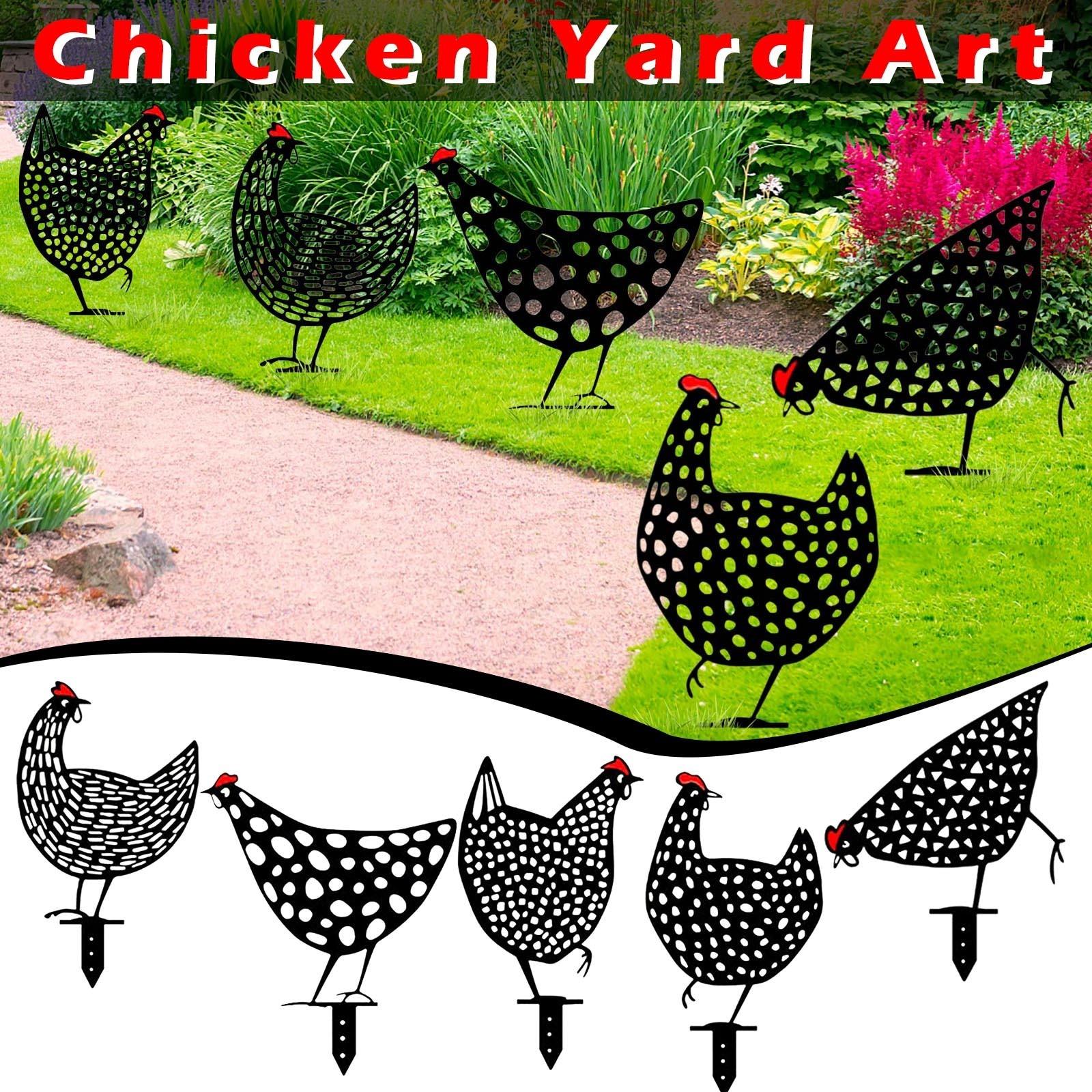 5Pcs Hen Yard Decor Easter Decoration Organizador Gardening Ornaments Chicken Yard Art Outdoor Garden Backyard Lawn Stakes Gift|Garden Statues & Sculptures| - AliExpress