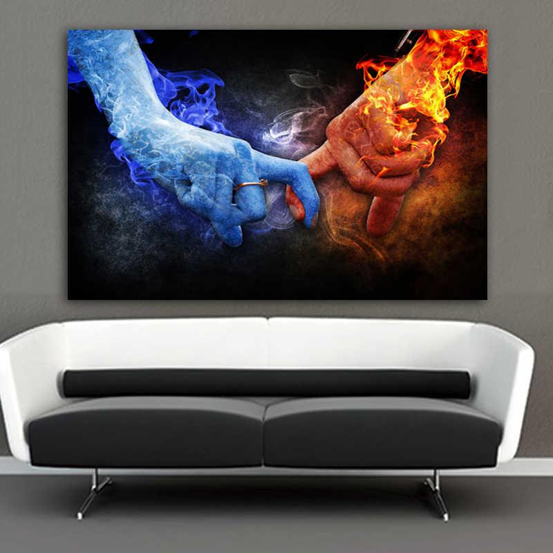 Ghiaccio e del Fuoco A Mano Immagini Dita della Tela di Canapa Pittura di Arte Della Parete Picture For Living Room Amore Poster Pittura Decorativa Senza Cornice