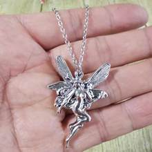 Nova moda colares para mulheres presente adorável asas de anjo fada pingente longo cruz colar de corrente do vintage jóias por atacado