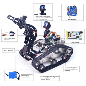 Image 3 - Programmable TH WiFi Bluetooth FPV Tank Robot Car Kit with Arm for  Arduino MEGA   Line Patrol Obstacle Avoidance Version Large