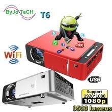 Unic t6 led completo hd 1080p projetor 3500 lumens beamer teatro em casa android wifi opcional proyector usb vga vídeo cinema