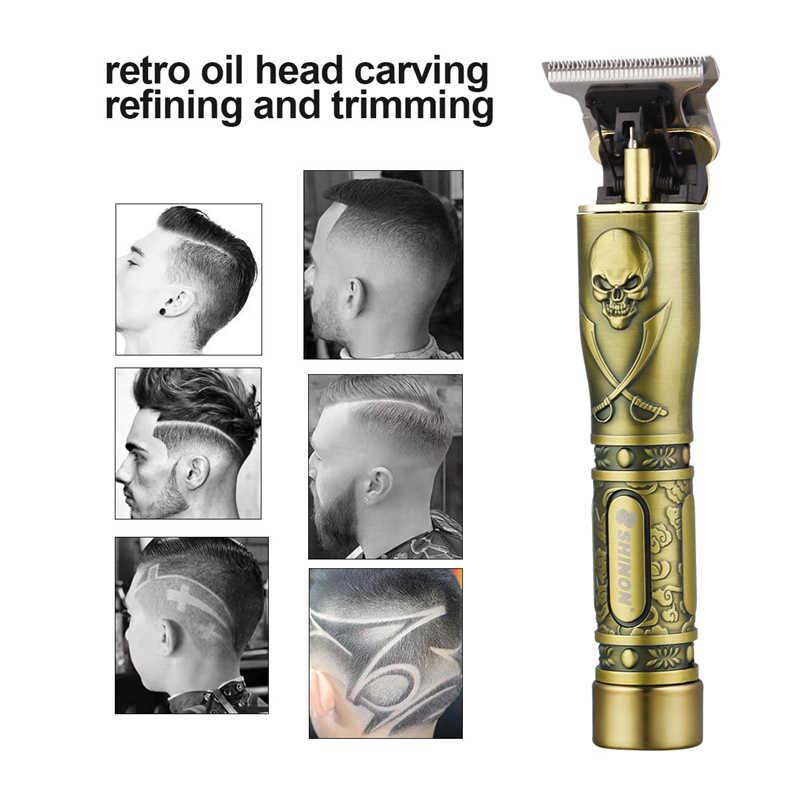 Usb充電式セラミックトリマー理髪バリカン機ヘアカットひげ男性散髪スタイリングツール