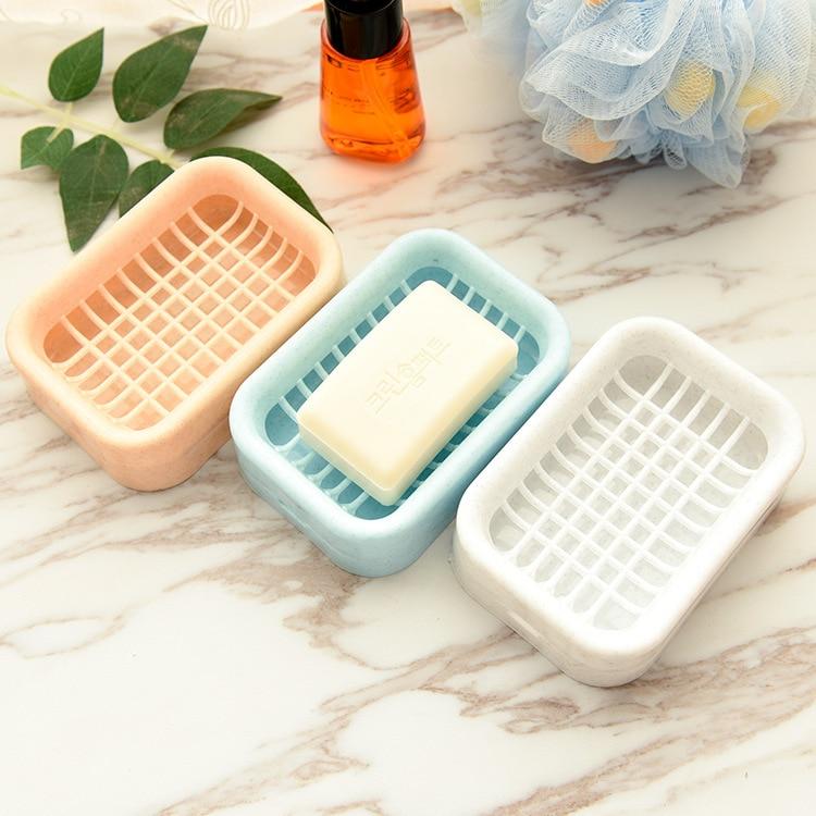 Soap Dish Travel Soapbox Drain Holder Case Bathroom Kitchen Soap Plate Tray