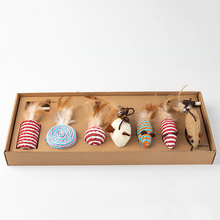 Pet funny cats stick 7 seven-piece cat toy funny cat combination set small fish wooden rod mouse funny cat stick cat toy недорого