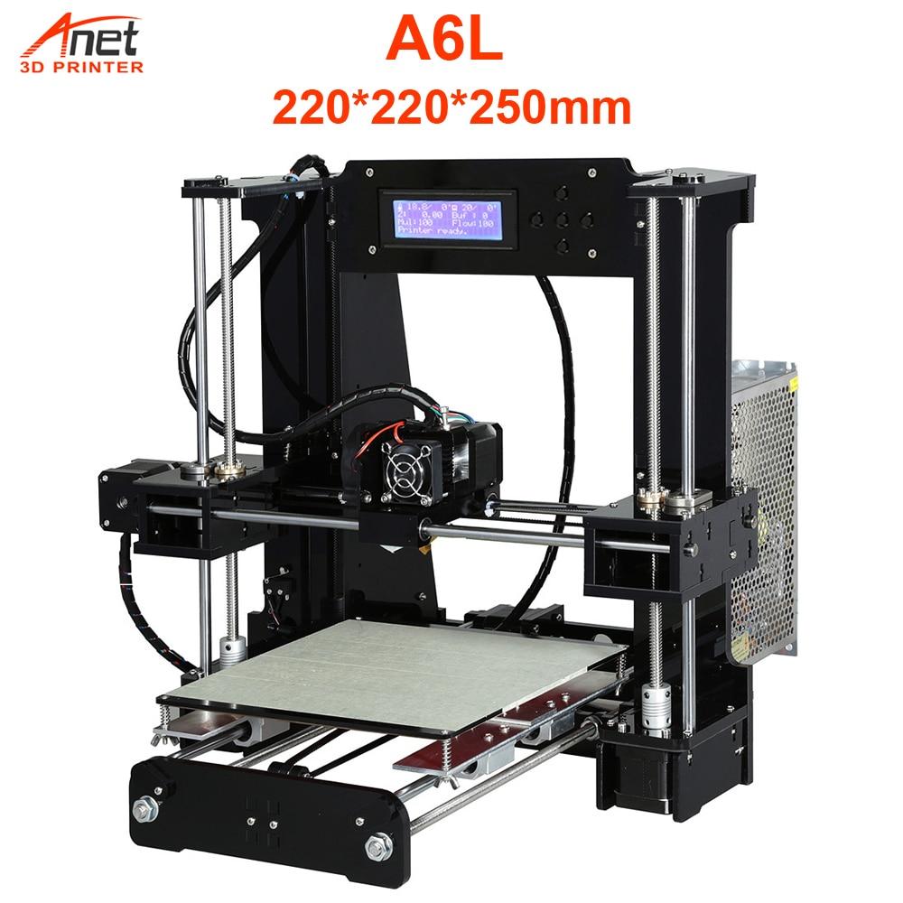 Anet A6L Impresora 3D Printer With Auto-Self Leveling Impresora 3D Aluminum Hotbed  Extruder DIY Kit Filament 8G SD Card