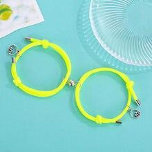 2pcs/set Luminous Rope Magnet Couple Bracelet Sea Mountain Matching Braslet Adjustable Glow In The Dark Valentine's Day Braclet