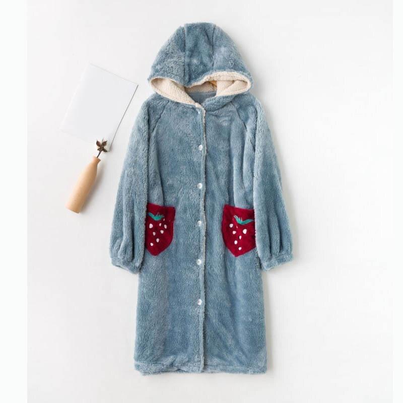 Femmes hiver chaud flanelle peignoir solide à capuche épaissi à manches longues Robe de bain femmes nuit Robe de chambre vêtements de nuit