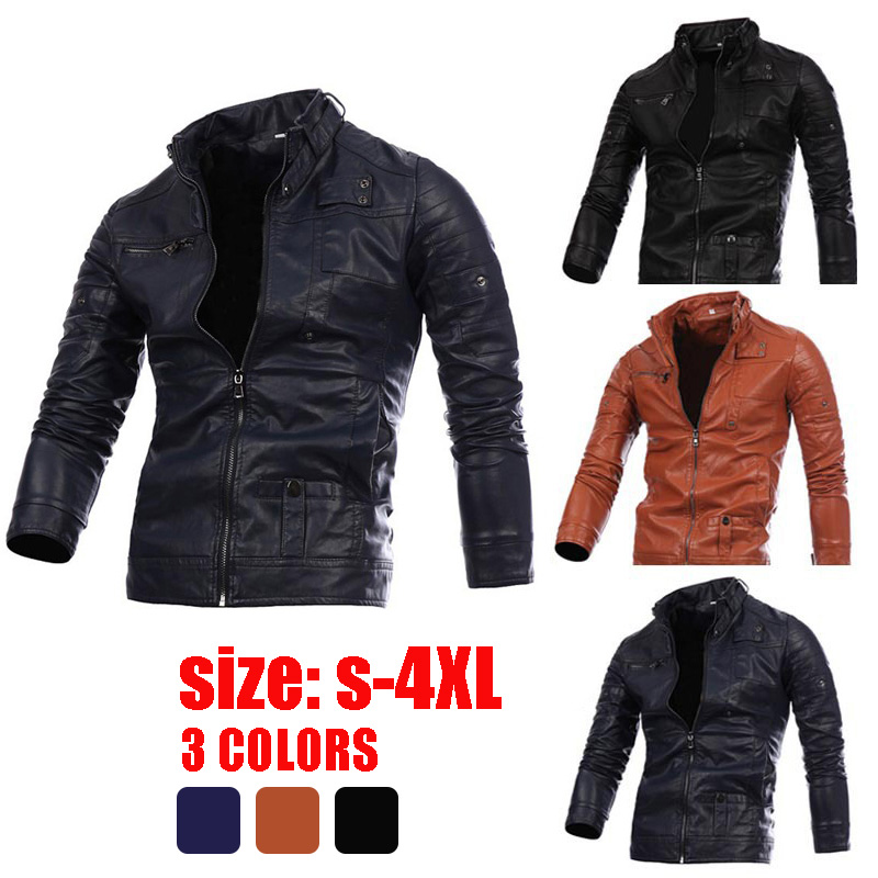CHANWELL MEN Solid Long Sleeve Zipper Slim Jackets 2019 Autumn Winter Plus Size Leather Faux Jacket Male Oversize Coats Clothes