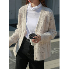 44Alpaca+15 Wool Hollow Out Women's Knitted Cardig