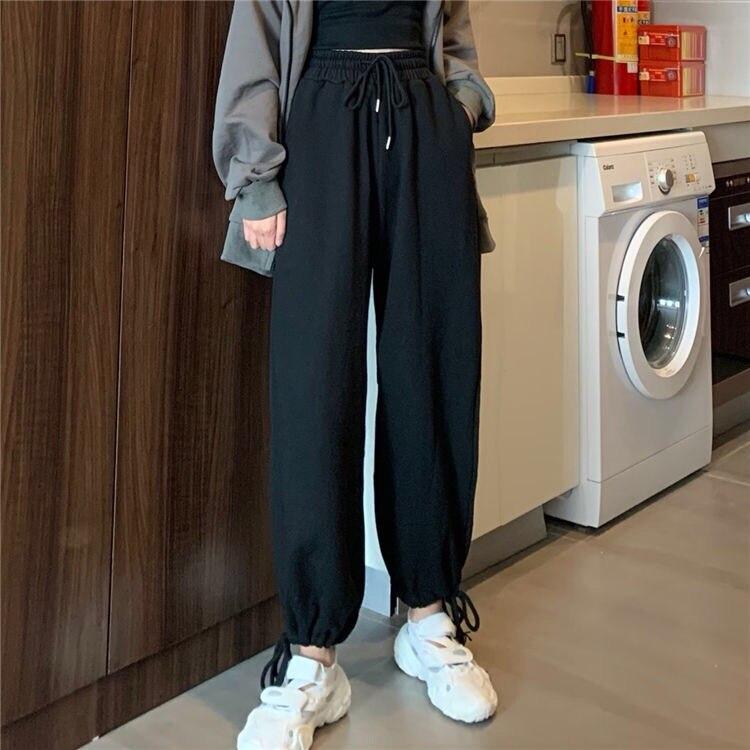 Plus Size Women Fashion Loose Harem Pants Ladies Elastic Waist Drawstring Sport Trousers Female Casual Jogging Sportwear Pants
