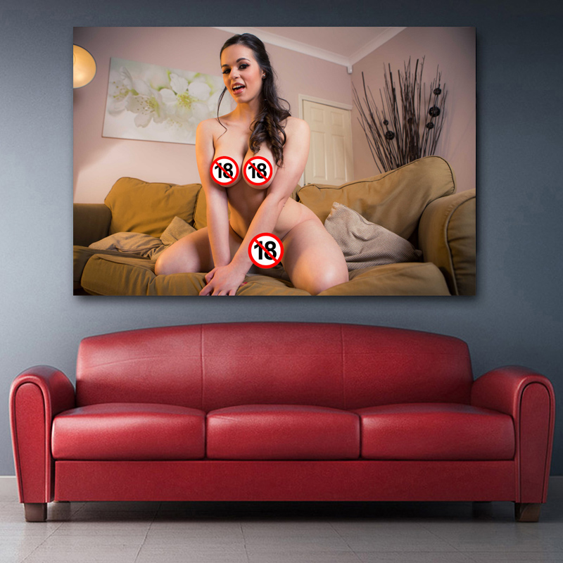Adult model Hot body Big chest girl pose sexy woman Photo Wall Art Poster and Prints Canvas Art Painting For Room Decor 3