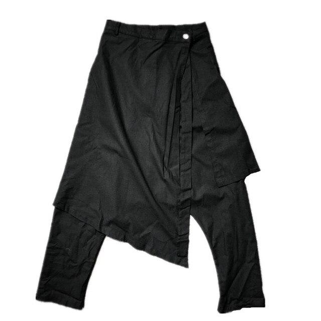 Owen Seak Men Casual Harem Pants Cross High Street Wear Hip HOP Ankle Length Pants Men's Gothic Sweatpants Spring Black Pants 4