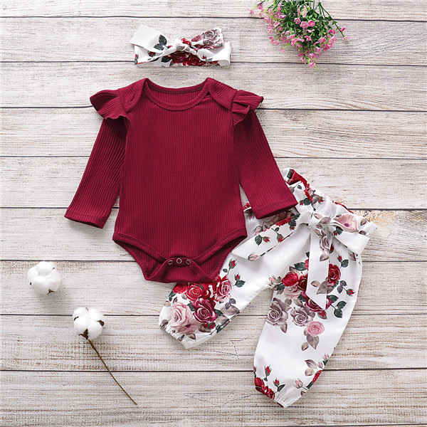 Newborn Baby Girls Autumn Clothes Set Flax Long Sleeve Knitted Romper +Floral Pants Headwear 3pcs Outfits Baby Clothing