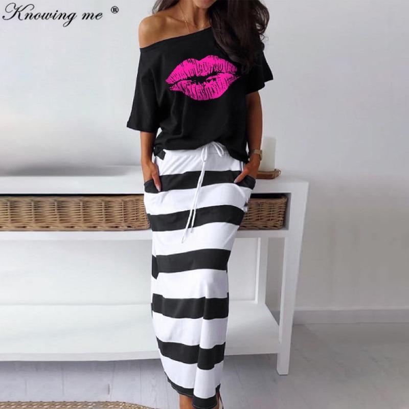 Mulheres sexy fora do ombro duas peças conjunto vestido esperança barco âncora imprimir topo camiseta & listrado tornozelo-comprimento vestidos dropshipping