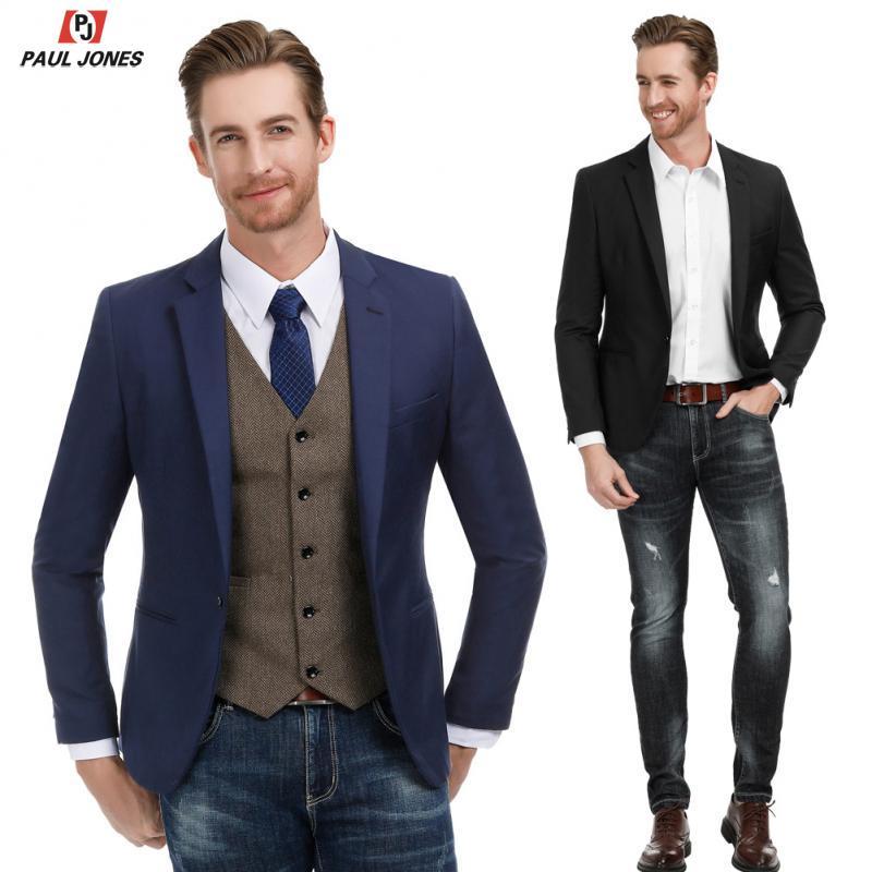 PAUL JONES Men Casual Suit Jacket Slim Fit Blazer One Button Stylish Notch Lapel Blazer Jacket Business Party Blazer Coat PJ0183