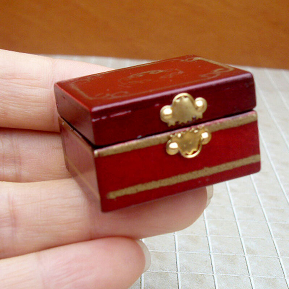 Dressing Table Mini Classical Kids Gift Furniture Accessories Miniatures Decoration Doll House Ornament Luxury 1/12 Jewelry Box